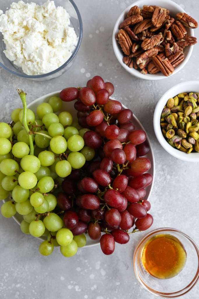 Ingredients used to make goat cheese grape balls