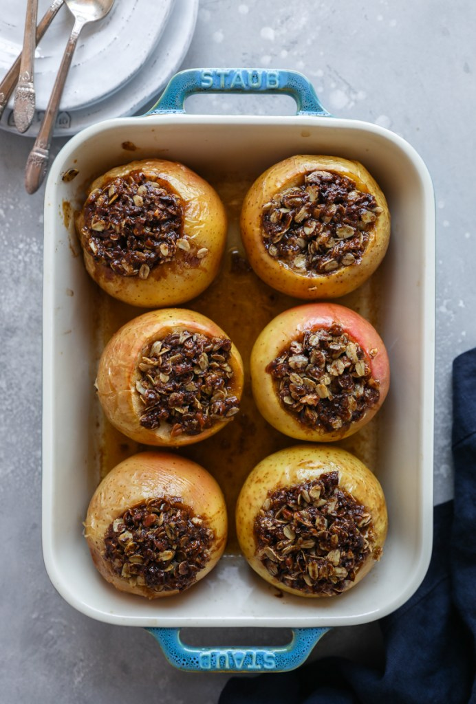 Stuffed apples in a baking dish