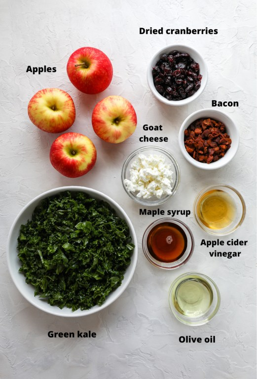 Ingredients to make a chopped apple, bacon and dried cranberry salad