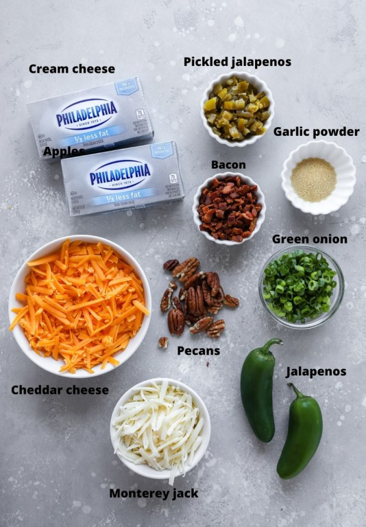 Ingredients to make a jalapeno popper cheese ball