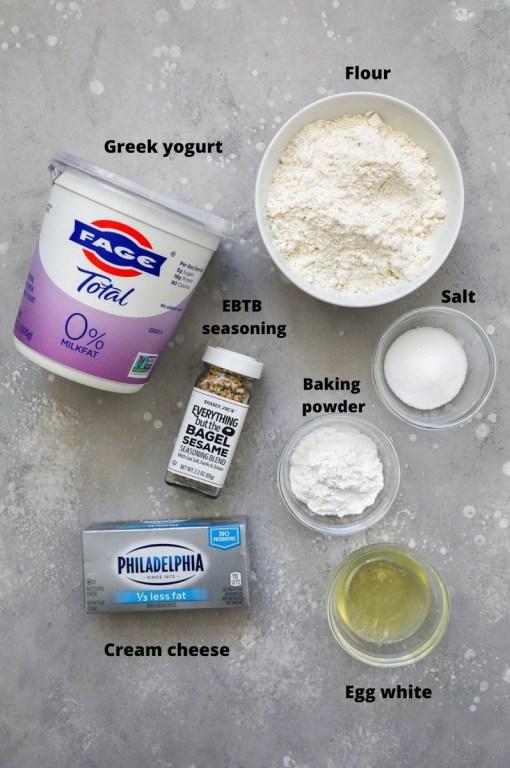 Ingredients used to make stuffed bagel bites