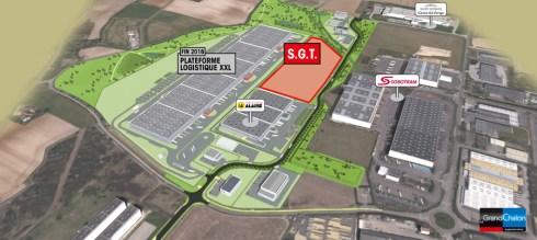 Emplacement du terrain acheté par la société SGT au Grand Chalon sur SaôneOr. Face à la plateforme XXL, et à proximité des entreprises Alainé et Sobotram.
