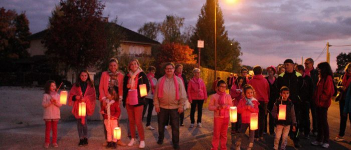 Fragnes la loère Octobre rose marche avec les enfants