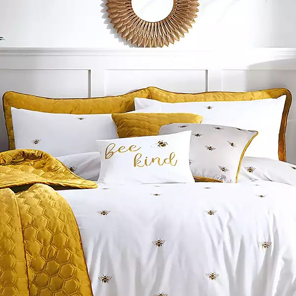 bee kind embroidered pair of pillowshams