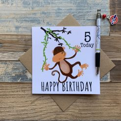 Hanging Monkey Birthday Card