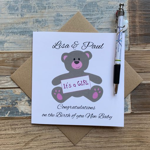 Personalised Teddy New Baby Girl Card