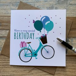 Birthday Bike Card with Flowers and Balloons