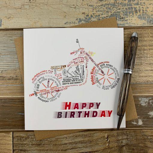 Motorbike Wordle Birthday Card
