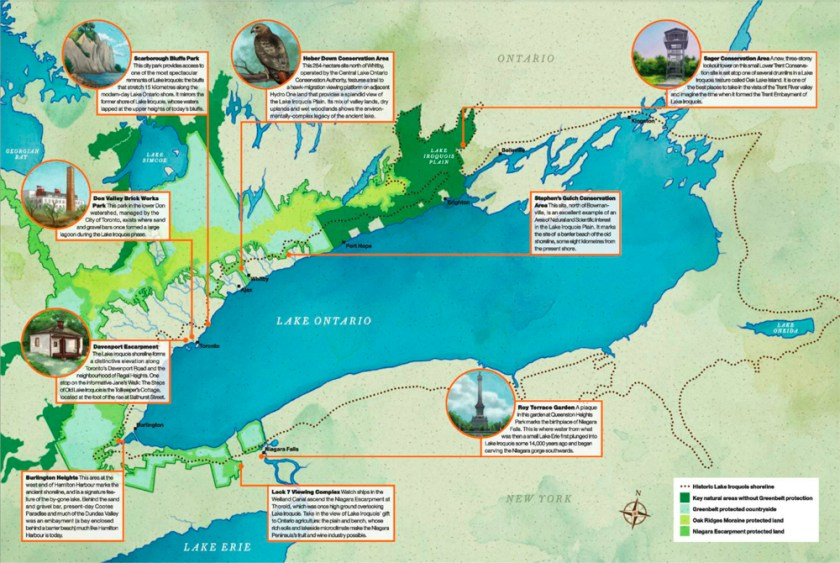 Illustrated and annotated map of the shoreline of the ancient Lake Iroquois.