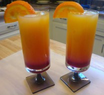 "Now, after letting the syrup cool, enjoy an ""Arizona Sunset"" made with freshly made Prickly Pear Syrup!"