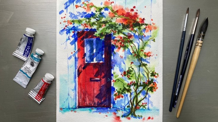 Watercolor-Painting-Red-Door-and-Vine-Red-Roses-Light-and-Shadow-Tutorial-Step-by-Step.