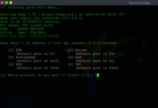 BruteDum : Brute Force Attacks SSH, FTP, Telnet, PostgreSQL, RDP, VNC