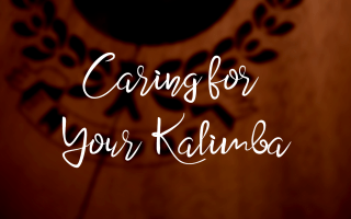"title image with text ""caring for your kalimba"" over a photo of a cracked kalimba"