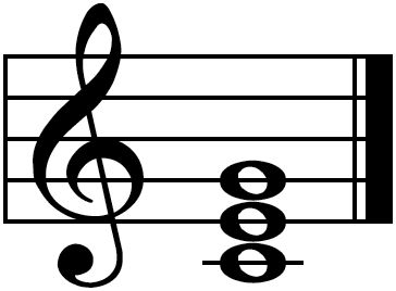 a picture of a music staff with a treble clef and notes C4 E4 and G4 as whole notes to create the C Major chord