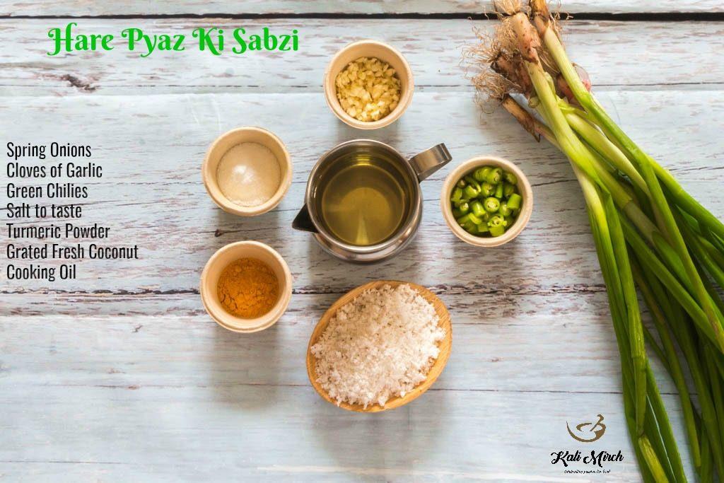 Kandyachya Patichi Bhaji Recipe-Hare Pyaz Ki Sabzi