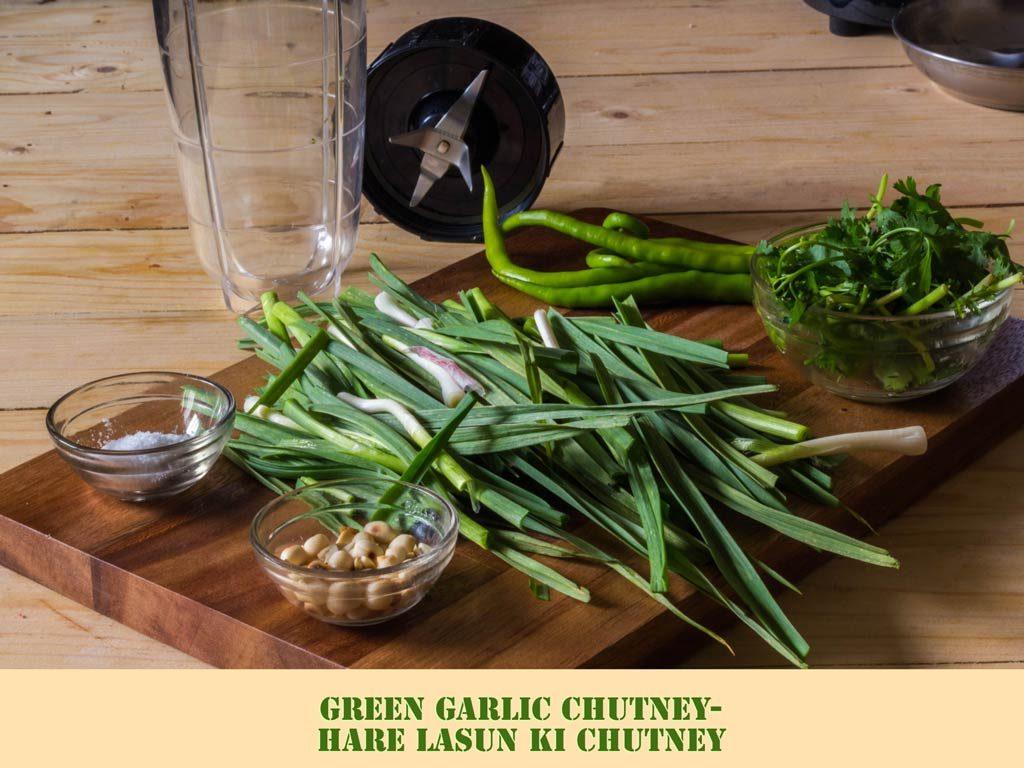 Green Garlic Chutney-Hare Lehsun Ki Chutney
