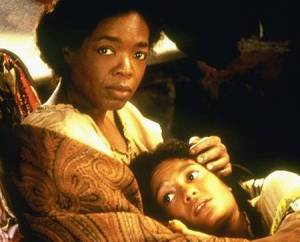 Oprah Winfrey and Thandie Newton, as Sethe and Beloved