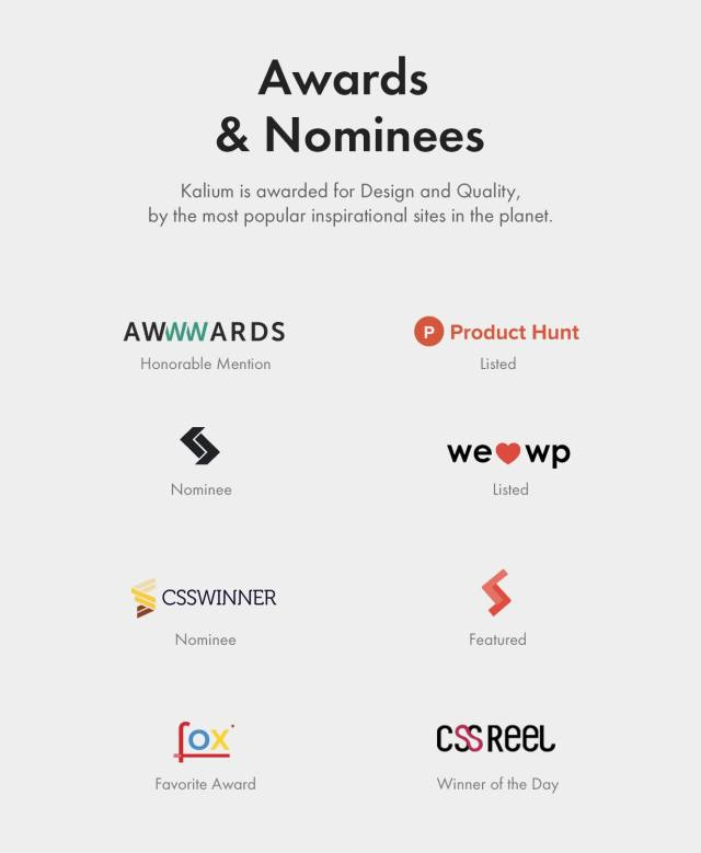 Recognized for great design and quality by winning many web awards