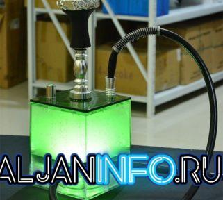 Дизайнерский зелёный кальян куб