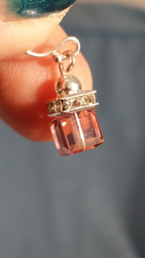 peach crystal with silver $15