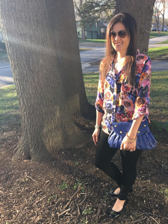 Day to night outfit, how to take an outfit from day to night, dark floral print top, floral top outfit, date night looks, Couples Cooking class