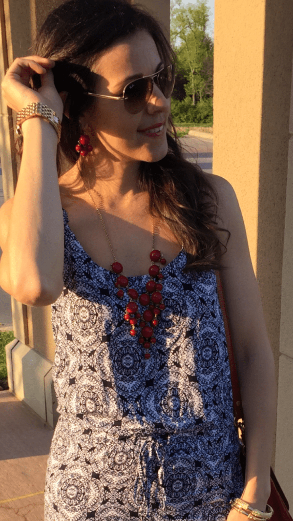 Blue Print Jumpsuit | How to style a jumpsuit | How to wear red accessories | Vacation looks | outfits for summer | summer style ideas