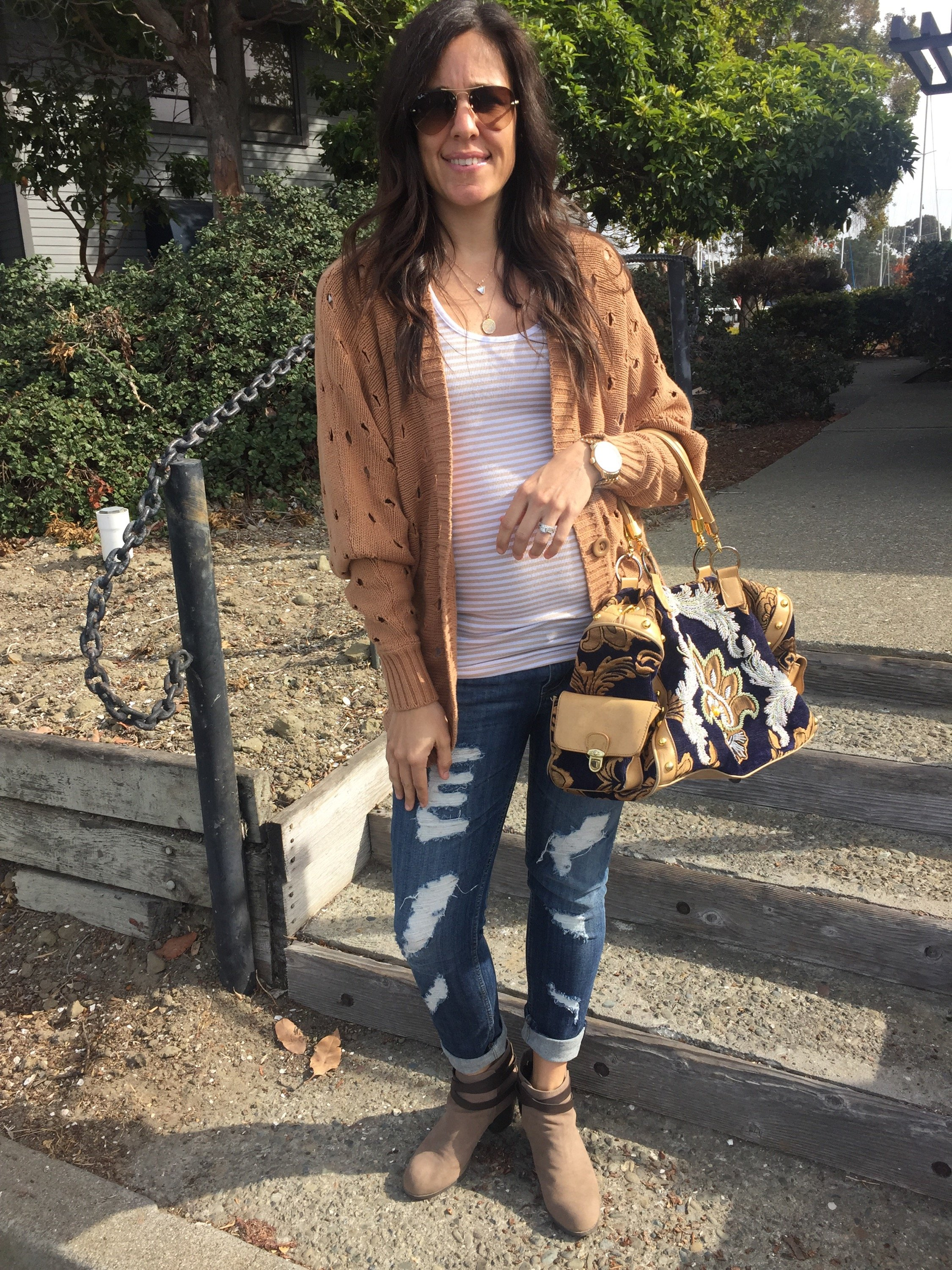 Styling a cardigan | fall and winter style | cool weather fashion tips | styling over the knee boots | embroidered purse