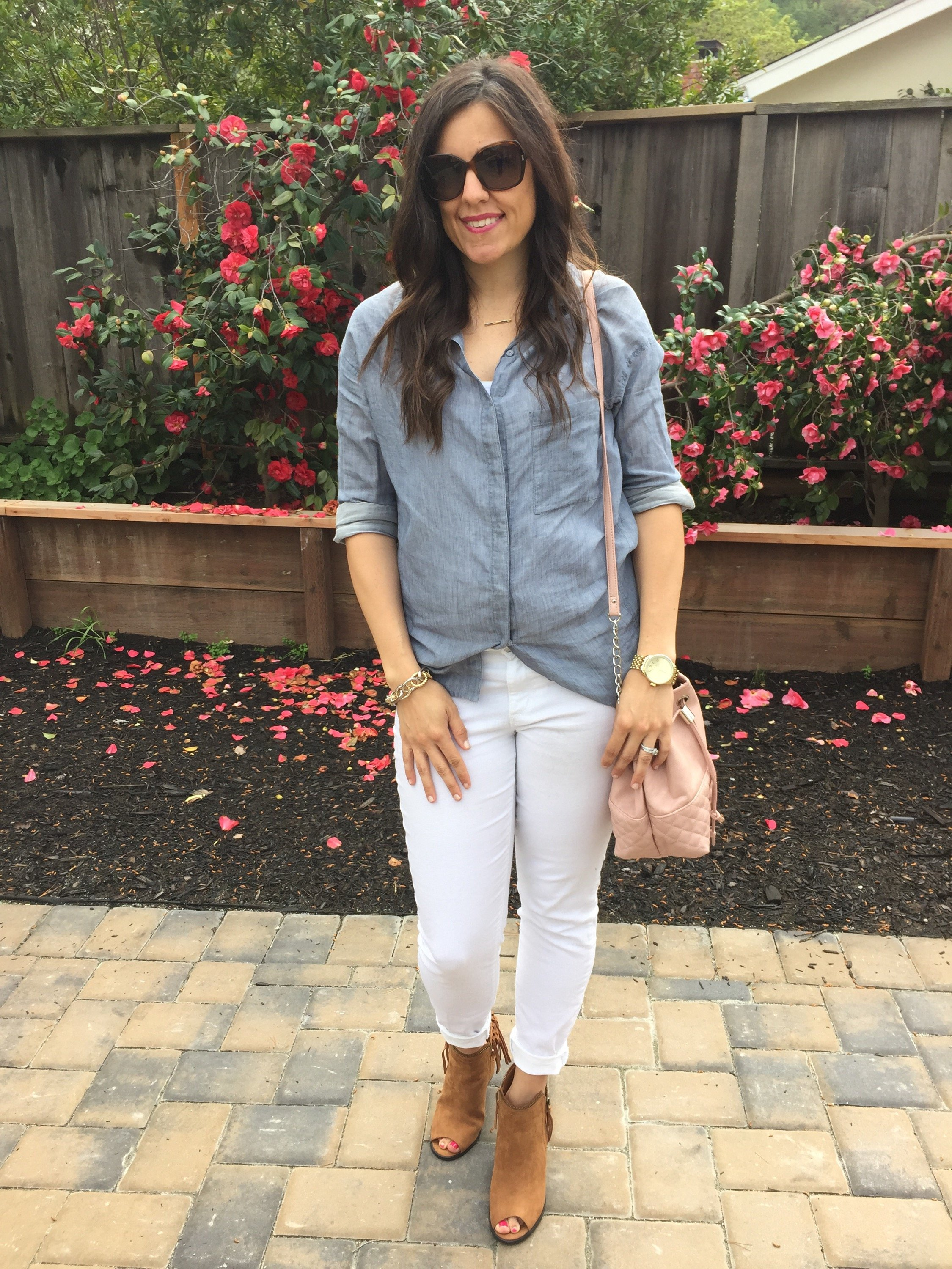How to style a chambray shirt | spring and summer style | neutral outfit | warm weather fashion | fringe booties