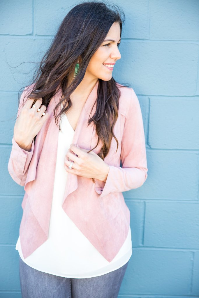 Blush Jacket, How to style a suede jacket, Suede jacket outfit, grey jeans outfit, spring styling tips, spring fashion, spring jackets