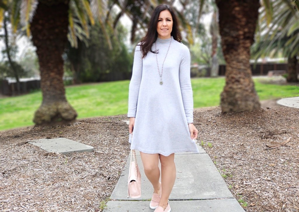 Styling a swing dress, Swing dress, Tips on styling a dress with sneakers, dress and sneakers, how to style pink shoes, spring style