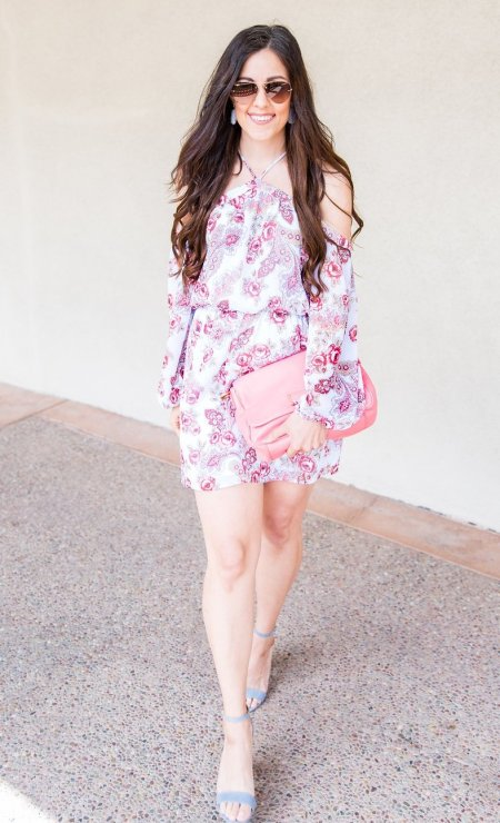 Floral Dress, Dresses for Spring, Spring Styling Tips, How to style a cold shoulder dress, Mother's Day outfit idea, Mother's day looks, spring fashion tips