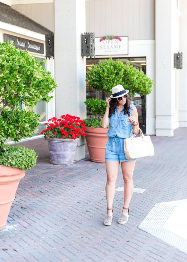 Styling a Chambray Romper, tips for styling a romper, romper outfit ideas, how to wear a fedora, outfit ideas with a hat, how to style a hat