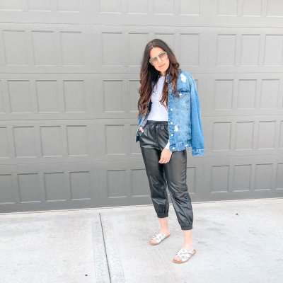 Styling Faux Leather Pants: Joggers, Leggings + Ankle Pants
