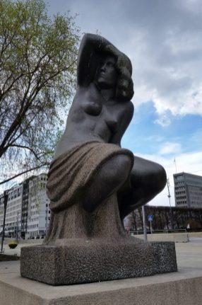 Woman statue near Nobel Center in Oslo