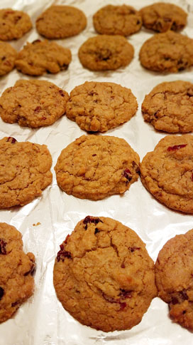 cherry chocolate oatmeal cookies out of the oven