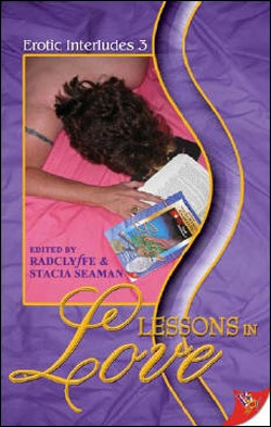 book cover, woman on bed reading lesbian anthology