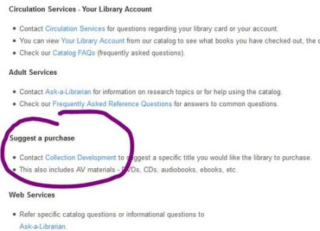 screenshot of library web site