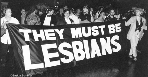 they must be lesbian protest banner oclc archives