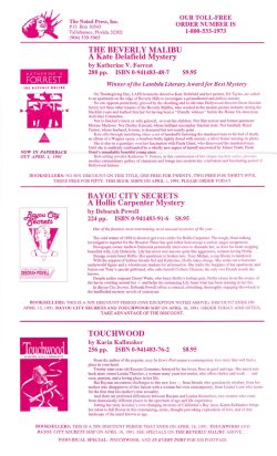 1991 Naiad Press flyer announcing the release of Touchwood, The Beverly Malibu, and Bayou City Secrets