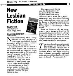 1992 Baltimore Alternative review of Touchwood by Karin Kallmaker review by Andrea Peterson