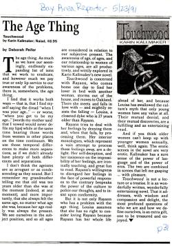 1991 Bay Area Reporter review of Touchwood by Karin Kallmaker review by Deborah Peifer
