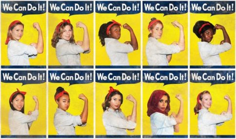 10 diverse women pose as Rosie the Riveter photos by Ilana Spiegel