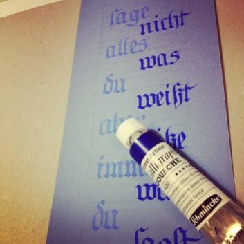Calligraphy Blue on Blue by Ka L-OK