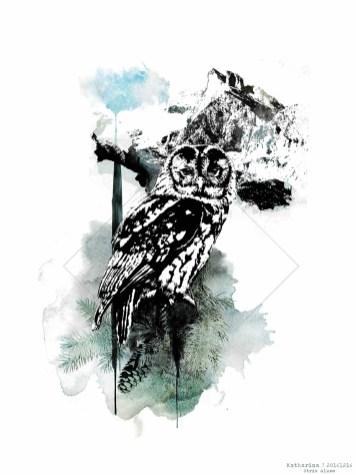 "Commissioned HelvEdition Artwork– ""Strix Aluco"" by Ka L-O-K   Graphic Arts"
