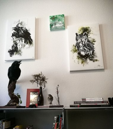 """Corvus Corvus"" & ""Bubo Bubo"" – HelvEdition Mixed Media Illustration by Ka L-O-K"