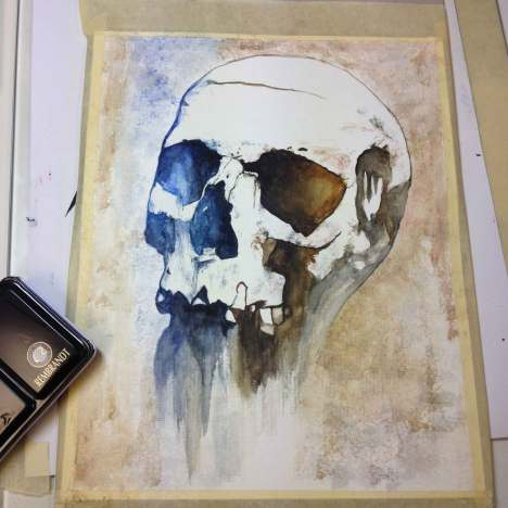 "Aquarelle ""Crâne Primarius"", mon premier essai, Ka L-O-K"