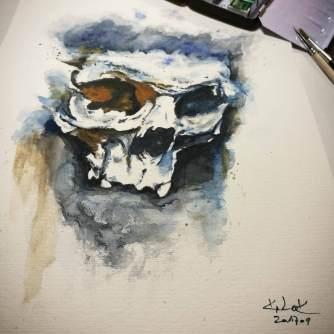 "Watercolor Painting ""Skull Montreux"", Ka L-O-K"