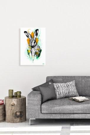 """Mock Up / Modèle avec l'illustration """"Lepus europaeus"""" de la série HelvEdition de Ka L-O-K   Graphic Arts"""