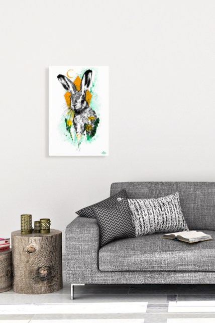 """Mock Up mit der illustration – """"Der Hase"""" – Lepus europaeus aus der Bilderserie HelvEdition von Ka L-O-K   Graphic Arts"""