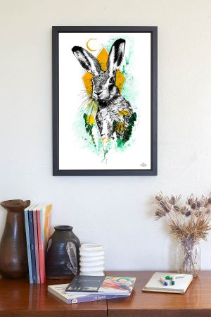 "Mock Up with  HelvEdition illustration ""Lepus europaeus"" (The Hare) by Ka L-O-K 